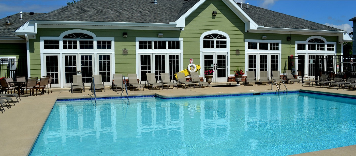 Pool area at Falcon's Pointe Apartments, Bowling Green, OH