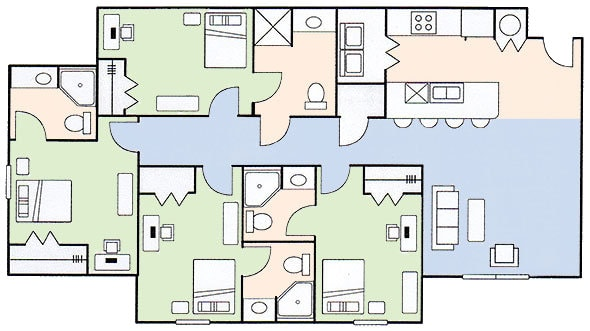Floorplan A - 4 Bedroom 4 Bath BGSU Student Apartment