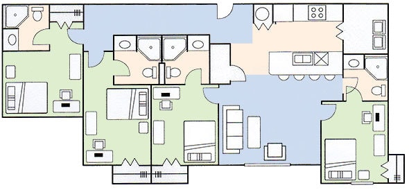 Floorplan B - 4 Bedroom 4 Bath BGSU Student Apartment